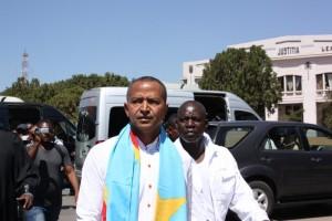 Moïse Katumbi arrive au palais de justice de Lubumbashi pour une audition, vendredi 13 mai 2016. Photo M3 Didier