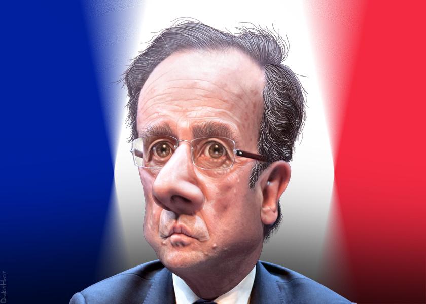 François Hollande - Caricature   DonkeyHotey